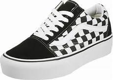 vans skool platform shoes black white checked