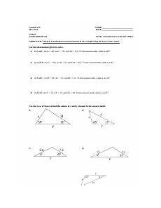 8 5 name 8 5 class date practice form g law of sines use the information given to solve 1 in