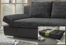 schlafsofa schwarz schlafsofa joker sofa schwarz mit bettkasten und chromf 252 223 en