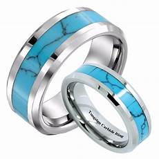 infinity 6mm 8mm simple womens turquoise tungsten carbide rings men wedding bands for couples