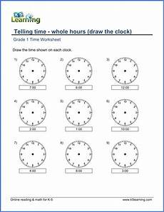 time worksheets grade 1 3005 grade 1 telling time worksheet on whole hours draw the clock with images time worksheets