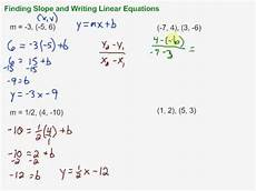 finding slope and writing linear equations in slope intercept form youtube