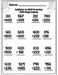 math worksheets for grade 3 addition with regrouping third grade winter math ela packet common aligned