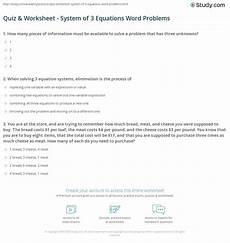 quiz worksheet system of 3 equations word problems study com