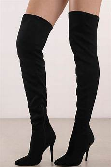 made for walking black faux suede thigh high boots 49