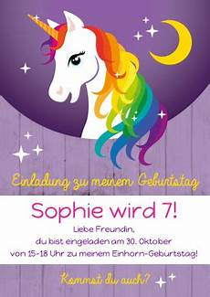 Unicorn Malvorlagen Kostenlos Text Einladungskarte Zum Kindergeburtstag Mit Buntem Regenbogen