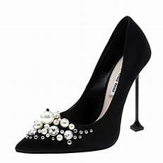 Buy Miu Miu Black Satin And Pearl Embellished