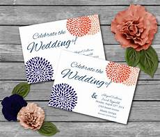 coral and navy printable wedding invitations party invitations invitation template diy