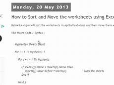 macro for sorting worksheets and workbooks 7742 how to sort and move the worksheets using excel macro