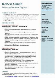 applications engineer resume sles qwikresume