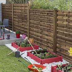 Barriere De Jardin Panneau En Bois Marron Droit Plein Naterial L 180 X H 180