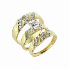 gold cz 3 piece wedding ring