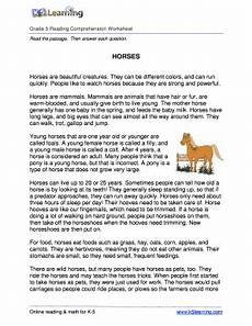 fillable online reading comprehension worksheet horses grade 5 free and printable reading