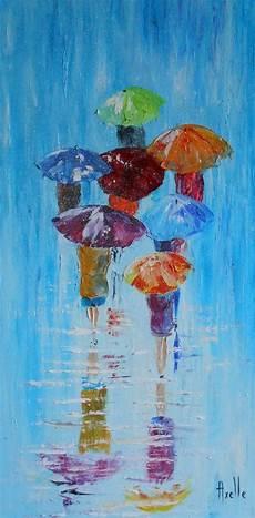 tableau de personnages avec des parapluies sous la pluie