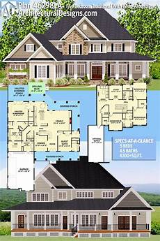 5 bedroom house plans with wrap around porch plan 46298la five bedroom traditional with wrap around