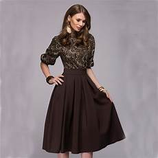 fall 2017 fashion women floral printed party dresses autumn christmas casual elegant prom midi