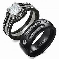 his hers 4 pc black stainless steel titanium wedding engagement ring ebay
