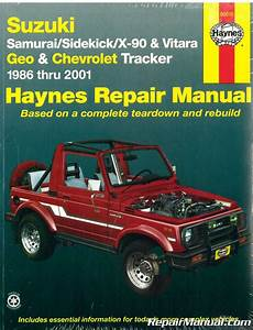 auto manual repair 1995 suzuki samurai head up display suzuki samurai sidekick x 90 vitara chevrolet geo tracker 1986 2001 haynes repair manual