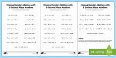 2 digits addition with decimal missing number addition with decimals worksheet missing