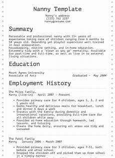 nanny resume exle resume com