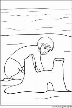 ausmalbild spielt im sommer am strand