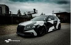 car wrapping folie monsterwraps audi a3 stealth grey camo wrap car