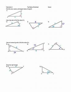 geometry a trig ratios worksheet name find the sine cosine and