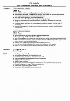 assistant housekeeper resume sles velvet