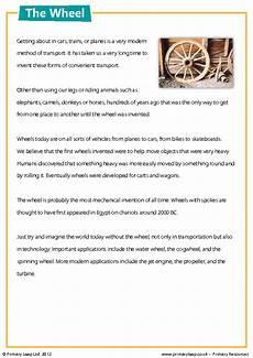 transport comprehension worksheets 15178 reading comprehension the wheel
