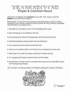thanksgiving common proper nouns worksheet