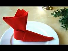 servietten falten weihnachten nikolaus nikolausstiefel