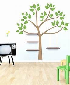 light brown lime green swing stories shelf wall decal kids bedroom walnut shelves
