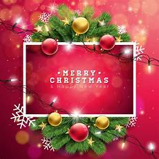 merry christmas illustration background with typography and holiday light garland