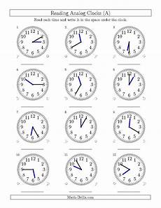 clock time worksheets grade 3 3458 reading time on 12 hour analog clocks in 5 minute intervals all math worksheet freemath