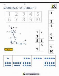preschool number worksheets sequencing to 10