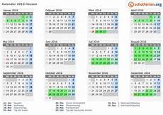 Kalender 2016 Ferien Hessen Feiertage