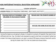 sports worksheets ks2 15821 physical education non participant worksheet physical education education physics