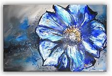 blumen bild blau silber malerei gem 228 lde leinwandbild