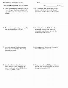 one step equation word problems worksheet for 4th 5th grade lesson planet