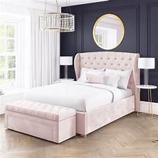 new modern safina wing back king size ottoman bed pink velvet bedroom furniture ebay