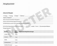 übergabe wohnung an vermieter 220 bergabeprotokoll kostenloses muster f 252 r wohnungen