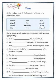 grade 3 grammar topic 13 verbs worksheets verb