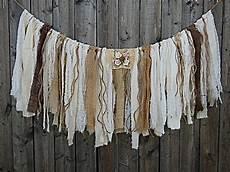 burlap banner rag tie garland vintage wedding fabric banner shabby decor door or