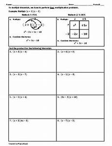 multiplying binomials worksheet teaching and practice by khalil