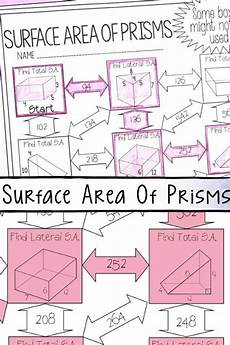 addition worksheets 8883 surface area of prisms maze worksheet surface area activities maths activities middle school