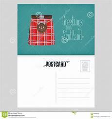 traditional postcard template postcard with scottish traditional skirt kilt vector