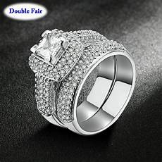 luxury silver color aaa cubic zirconia rings fashion