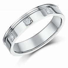 4mm 18ct white gold flat court diamond wedding ring 18ct