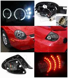 airbag deployment 2005 dodge neon interior lighting 2003 2005 dodge neon dual halo projector headlights led tail lights depo black ebay
