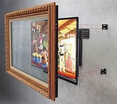 bilderrahmen an der holz bilderrahmen an der wand mit falachbild tv montieren